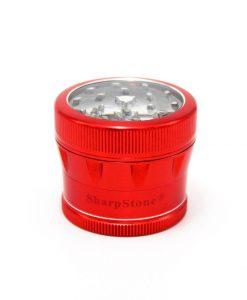 Red Sharpstone V2 4 Piece Grinder Clear Top