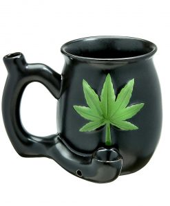 Matte Black & Green Leaf Ceramic Mug Pipe