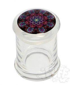 Purple Mandala Clear Glass Pop Top Jar